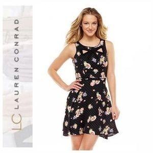 LC Lauren Conrad Cut Out Bow Front Floral Dress 4